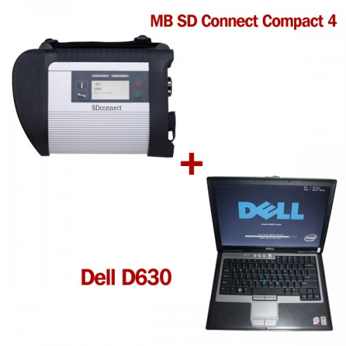 V2012.11 SD Connect Compact 4 Star Diagnosis with DELL D630 Laptop 4GB Memory Support Offline Programming