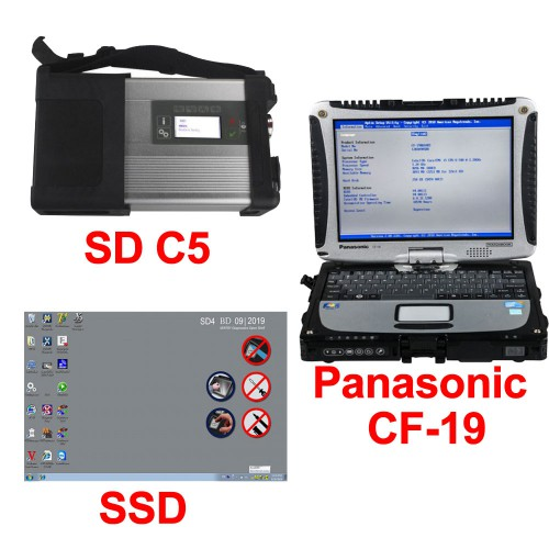 V12/2019 MB SD C5 Connect Compact 5 Star Diagnosis Plus Panasonic CF19 I5 4GB Laptop XENTRY Software Pre-installed Ready to Use