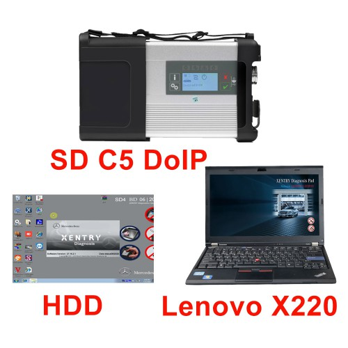 New MB SD C5 DOIP-C5 Star Diagnostic with 2020.09/2020.12 Software HDD Pre-installed on Second Hand Lenovo X220 Laptop