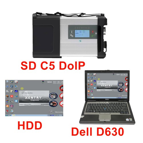 New MB SD C5 DOIP-C5 Star Diagnostic with 2020.09 Software HDD Pre-installed on Second Hand Dell D630 Laptop