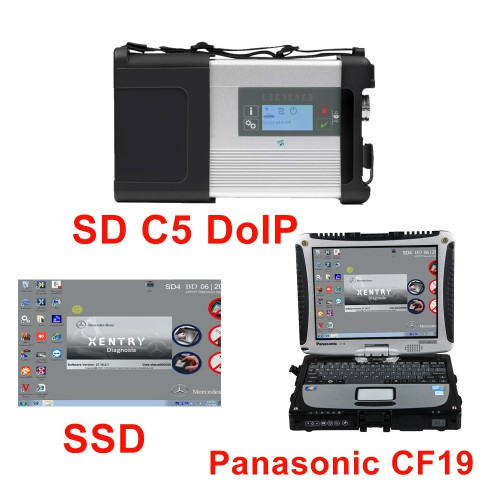 New MB SD C5 DOIP-C5 Star Diagnostic with 2020.09/2021.3 Software SSD Pre-installed on Second Hand Panasonic CF19 Laptop